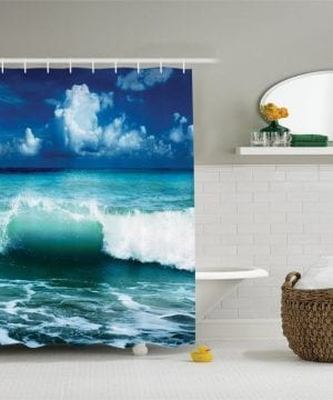 15-Crashing-Waves-Beach-Themed-Shower-Curtain-300x360 200+ Beach Shower Curtains and Nautical Shower Curtains