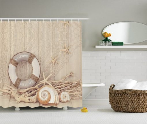 Life Preserver Spiral Shell Shower Curtain