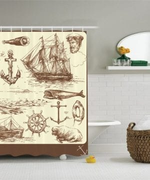 18-Perfect-Nautical-Shower-Curtain-300x360 200+ Beach Shower Curtains and Nautical Shower Curtains