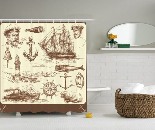 Perfect Nautical Themed Shower Curtain