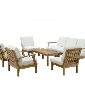 LexMod 8-PC Outdoor Natural Teak Sofa Set