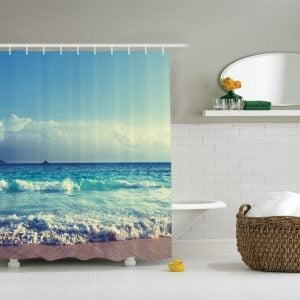 2-Ambesonne-Bright-Ocean-Day-Shower-Curtain-300x300 Beach Shower Curtains & Nautical Shower Curtains
