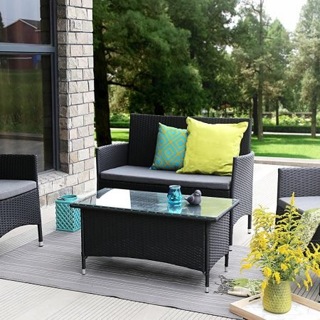 baner garden wicker sofa set