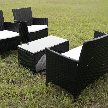 merax outdoor wicker patio seating set