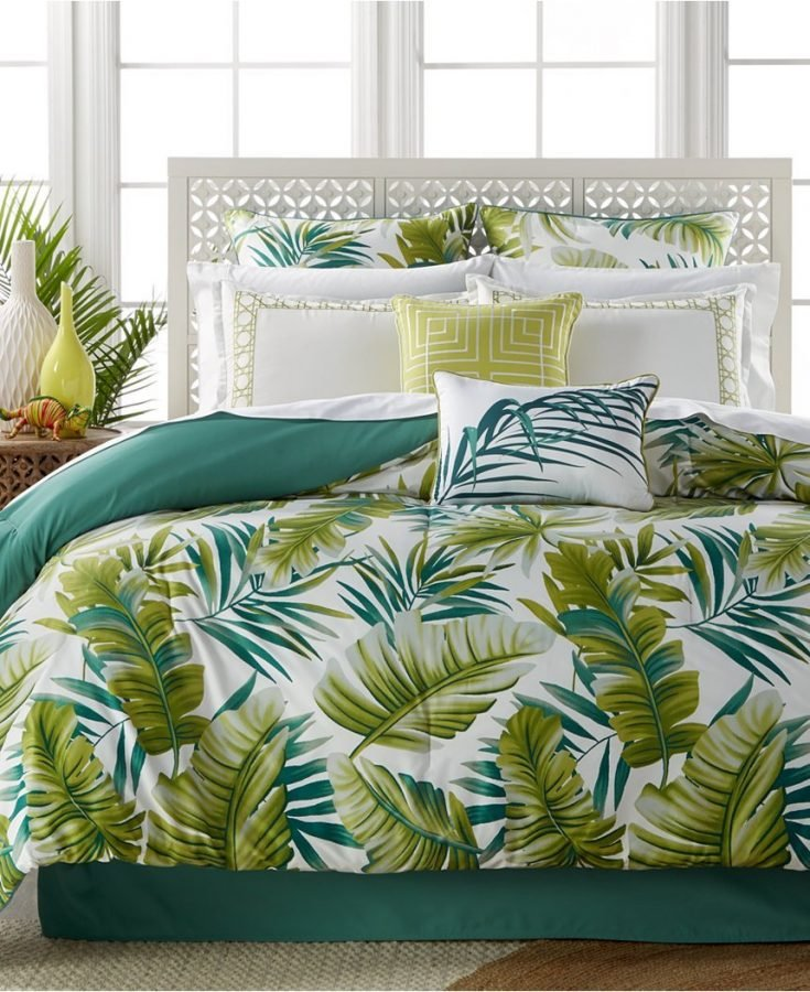 Brand-new Tropical Palm Leaves Bedding Set Bed in a Bag EW87
