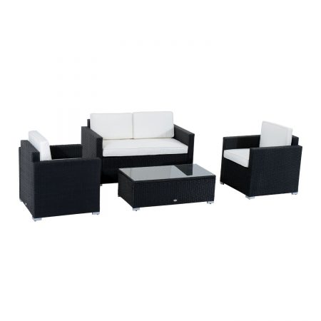 Rattan Black Wicker 4-PC Outdoor Set