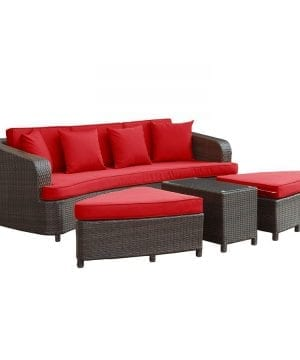 Modern Red Outdoor Wicker Sofa Set