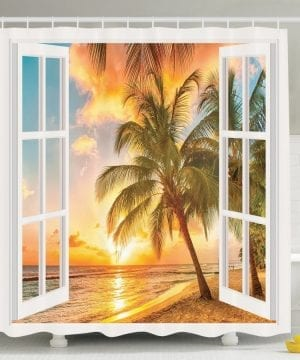 23-Sunrise-Palm-Tree-Shower-Curtain-300x360 200+ Beach Shower Curtains and Nautical Shower Curtains