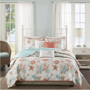 Coastal Starfish Ocean Themed Beach Quilt Set