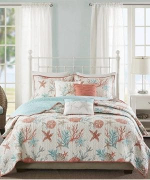 23-coastal-starfish-ocean-themed-quilt-300x360 200+ Coastal Bedding Sets and Beach Bedding Sets
