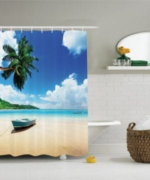 26-Boat-On-The-Beach-Shower-Curtain-300x360 200+ Beach Shower Curtains and Nautical Shower Curtains