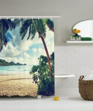 27-Palm-Tree-Hallway-Shower-Curtain-300x360 200+ Beach Shower Curtains and Nautical Shower Curtains