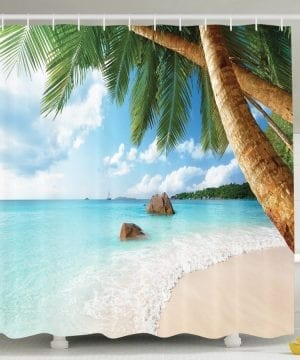 28-Palm-Tree-Aqua-Water-Shower-Curtain-300x360 200+ Beach Shower Curtains and Nautical Shower Curtains