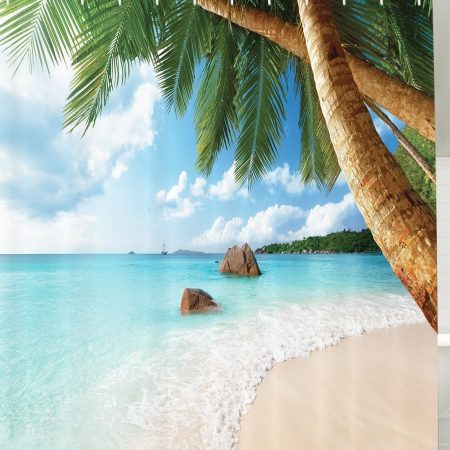 Palm Tree Aqua Water Shower Curtain