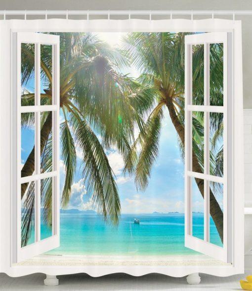 Window Ocean Views Shower Curtain