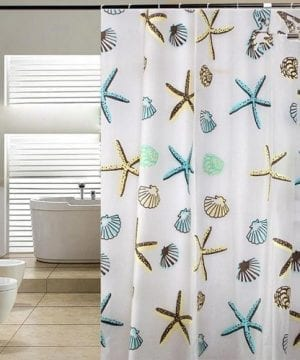 Blue Pier Starfish Seashell Shower Curtain