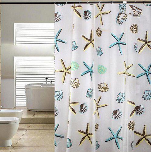 Blue Pier Starfish Seashell Shower Curtain