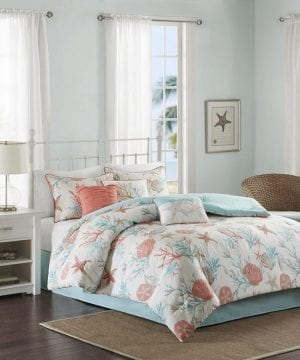 coral starfish seashell bedding set bed in a bag