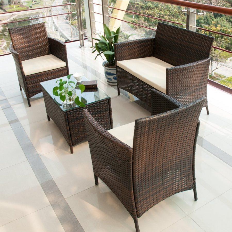Brown Wicker Patio Furniture.Merax 4 Pc Brown Wicker Rattan Furniture Set