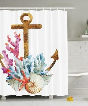 30-Anchor-Coral-Shell-Shower-Curtain-300x360 200+ Beach Shower Curtains and Nautical Shower Curtains
