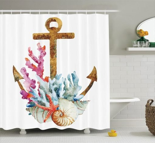 Anchor Coral Shell Shower Curtain