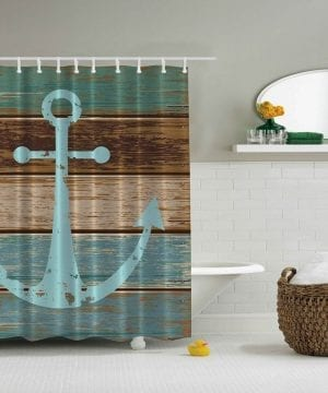 4-Ambesonne-Nautical-Rustic-Anchor-Shower-Curtain-300x360 200+ Beach Shower Curtains and Nautical Shower Curtains