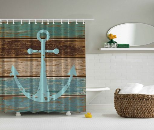 Ambesonne Nautical Rustic Anchor Shower Curtain