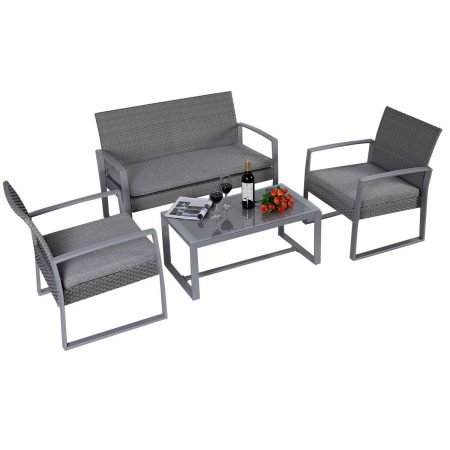 giantex cushioned wicker furniture set