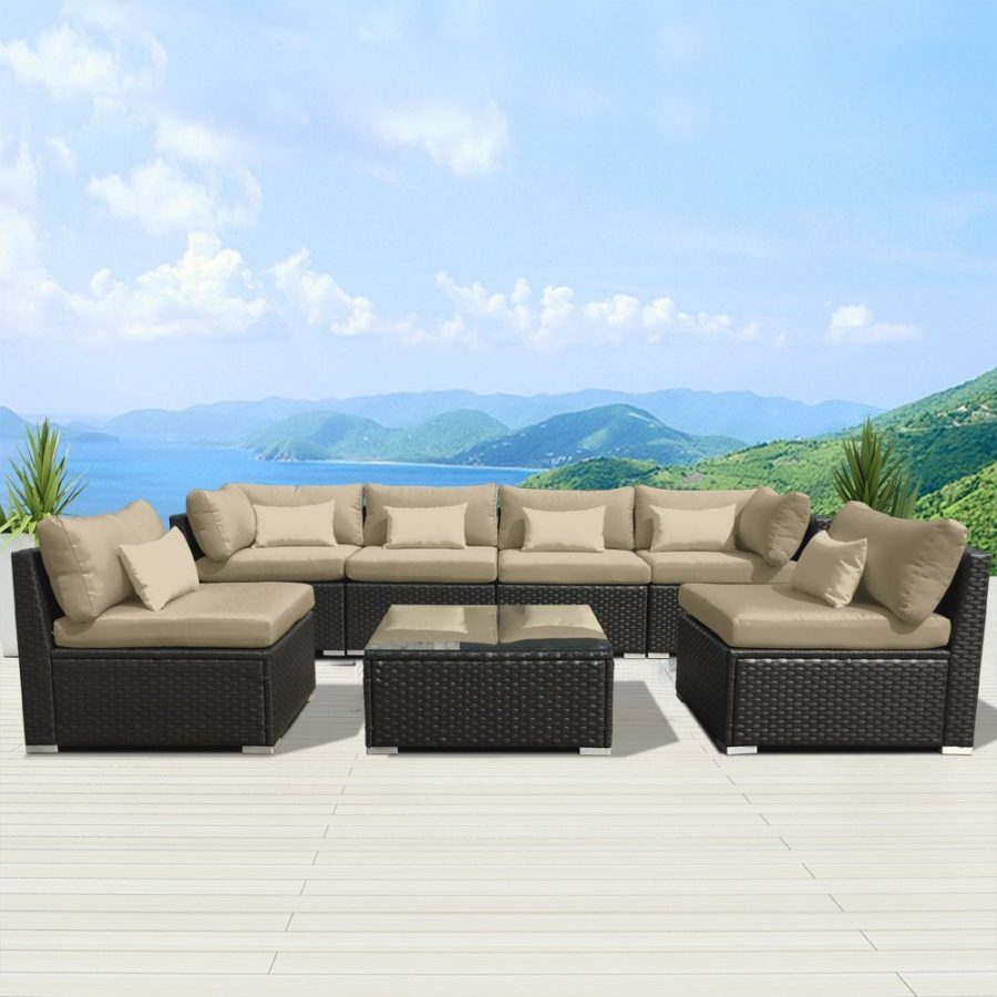 Modenzi 7 Pc Outdoor Sectional Wicker Set