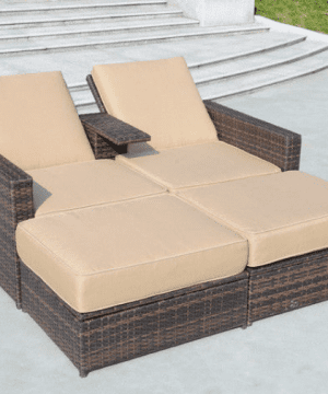 double wicker chaise lounge chairs