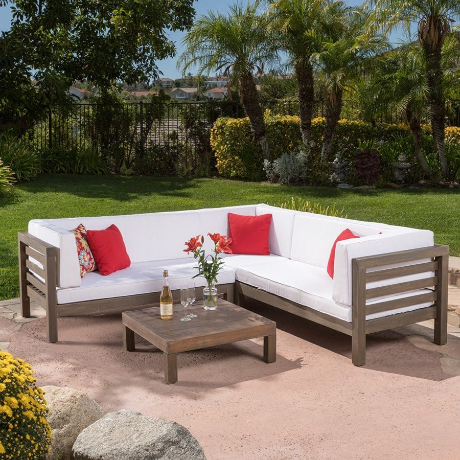 Ravello Outdoor 4 Pc Teak Cushioned Sofa Set