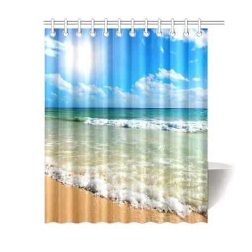 Tropical Beach Waves Shower Curtain