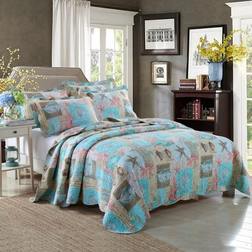 Lelva Ocean and Beach Themed Patchwork Quilt Set