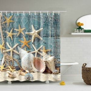 6-Seashell-Conch-And-Starfish-Shower-Curtain-300x300 Beach Shower Curtains & Nautical Shower Curtains