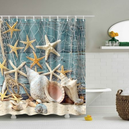 Seashell Conch and Starfish Shower Curtain