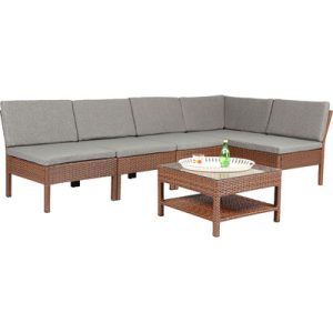 Baner Garden 6-PC Brown Wicker Sectional