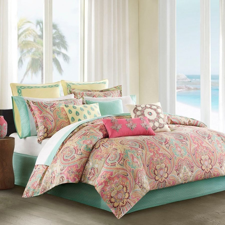 Pink Pastel Hawaiian Tropical Bedding Set Bed In A Bag
