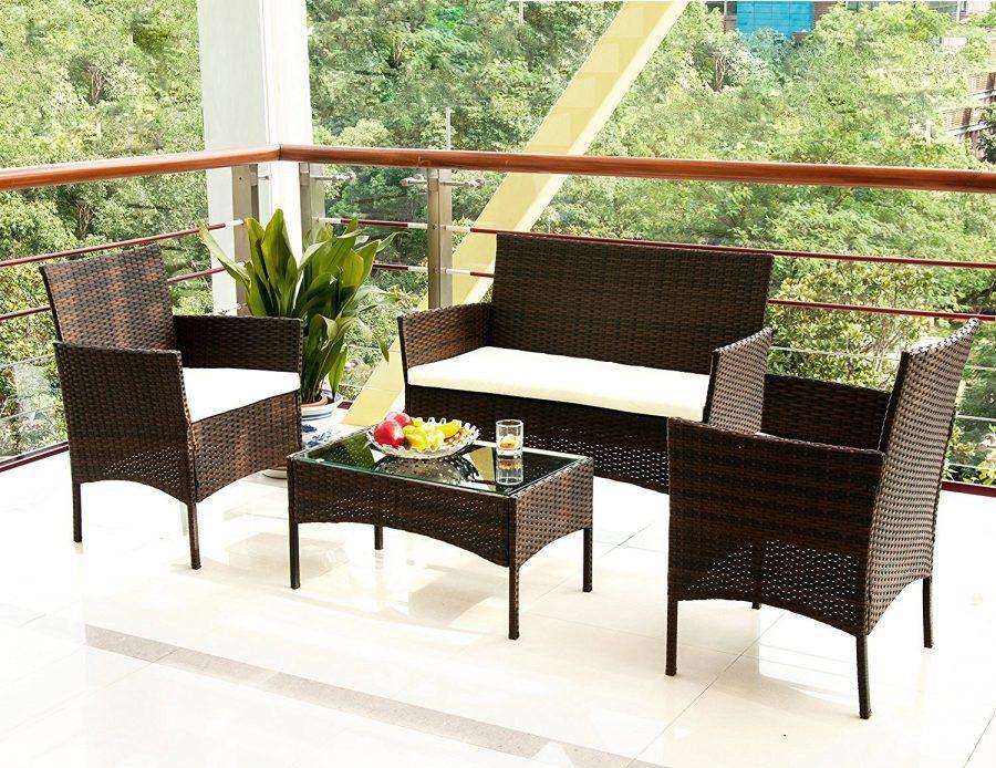 Merax 4 Pc Garden Rattan Wicker Sofa Set