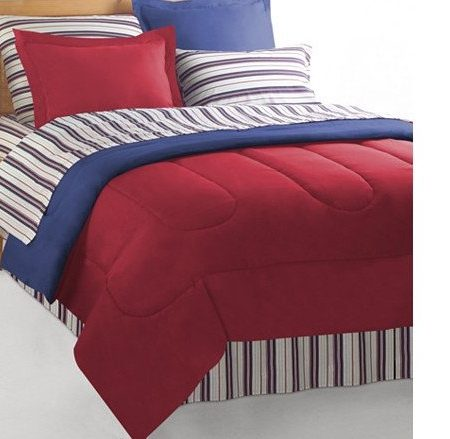 Red/Blue Reversible Nautical Bedding Set Bed in a Bag