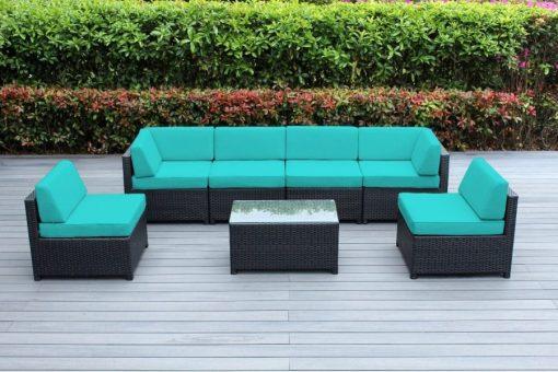 ohana mezzo turquoise wicker sofa set