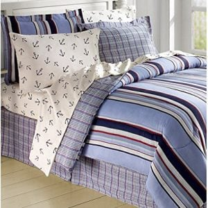 Striped Nautical Anchors Comforter Set Bed in a Bag
