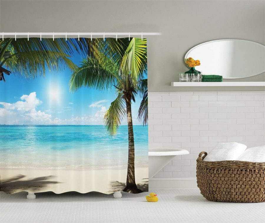 Tropical Palm Tree Beach Themed Shower Curtain