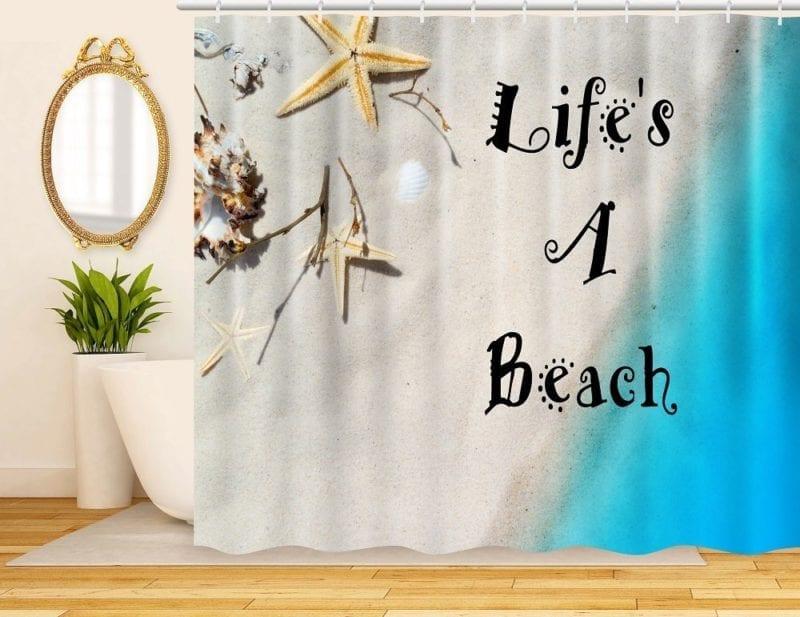 ArtRena-Decorative-Fabric-Shower-Curtain-Beach-Theme-800x617 Beach Shower Curtains & Nautical Shower Curtains