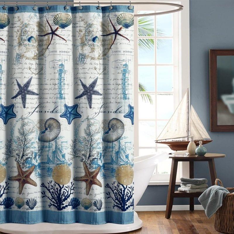 DS-BATH-Under-the-Sea-Blue-Seashell-Decorative-Polyester-Fabric-Shower-Curtain-800x800 Beach Shower Curtains & Nautical Shower Curtains