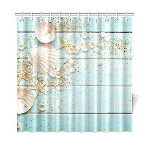 InterestPrint-Seashell-Home-Decor-Sand-Starfish-Blue-Wooden-Back-Polyester-Fabric-Shower-Curtain Beach Shower Curtains & Nautical Shower Curtains