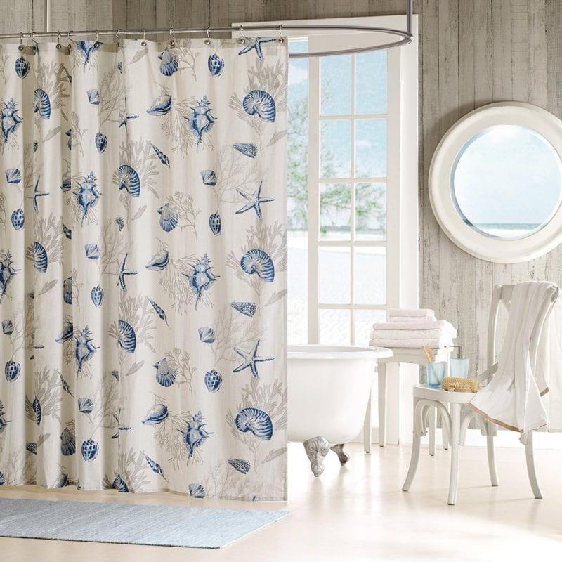 Madison-Park-Bayside-Blue-Seashells-Fabric-Shower-Curtain-800x800 Beach Shower Curtains & Nautical Shower Curtains