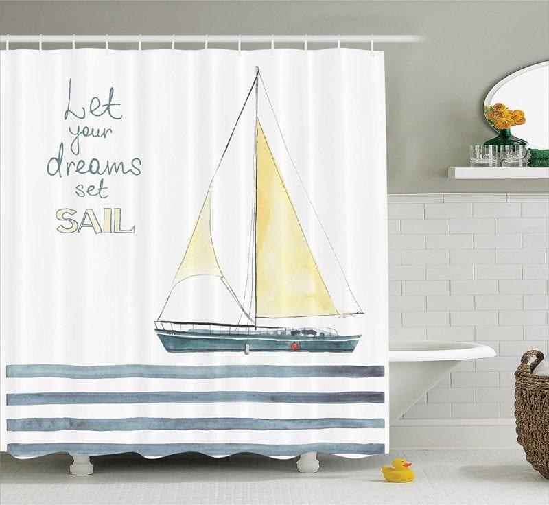 Sailboat-Nautical-Decor-Shower-Curtain-Set-By-Ambesonne-800x736 Beach Shower Curtains & Nautical Shower Curtains