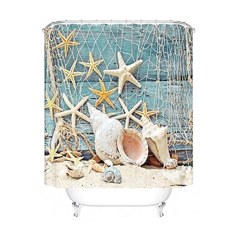 Seashell-Conch-Starfish-Shower-Curtain-Nautical--800x800 Beach Shower Curtains & Nautical Shower Curtains