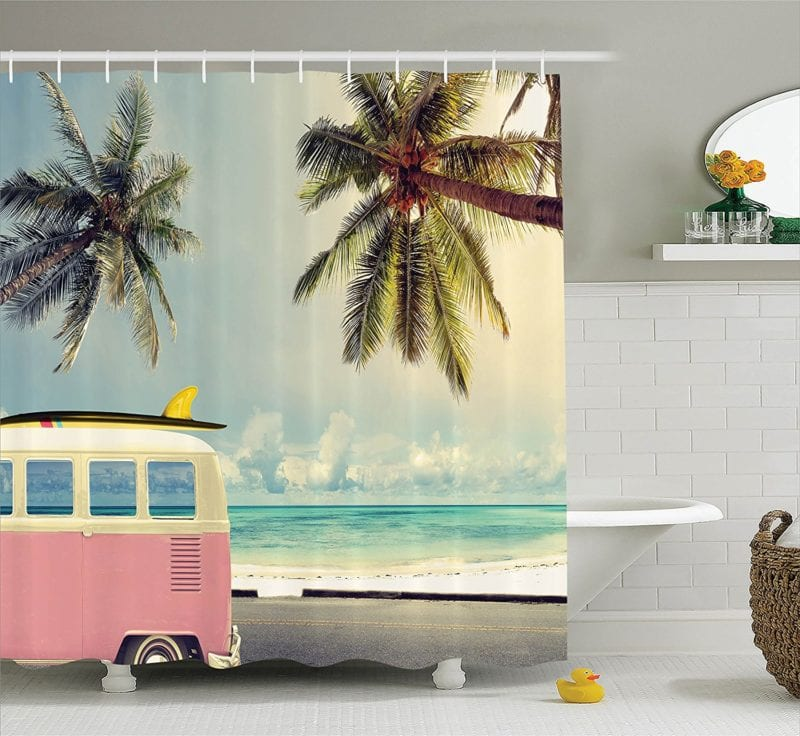 Surf-Decor-Shower-Curtain-Set-by-Ambesonne-800x736 Beach Shower Curtains & Nautical Shower Curtains