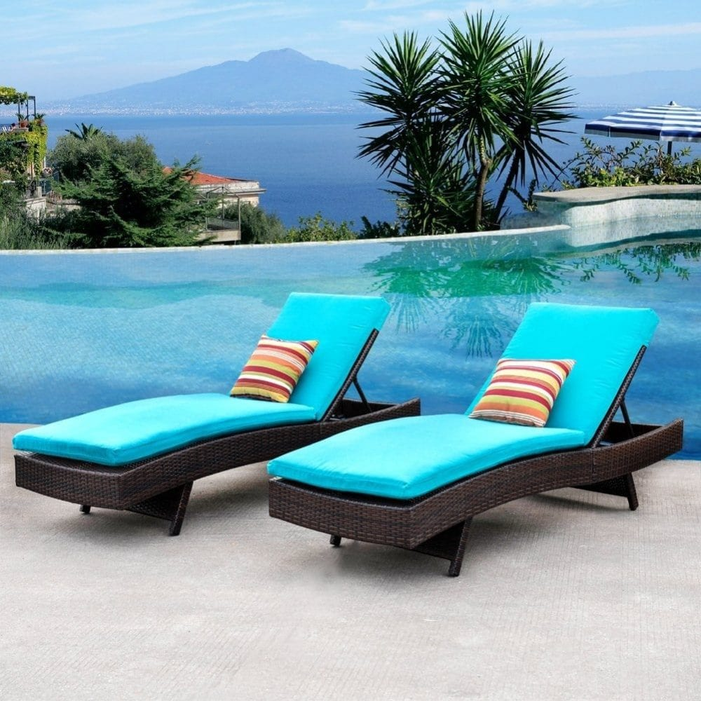 sundale-outdoor-wicker-chaise-lounge-cushion-set 50+ Wicker Chaise Lounge Chairs